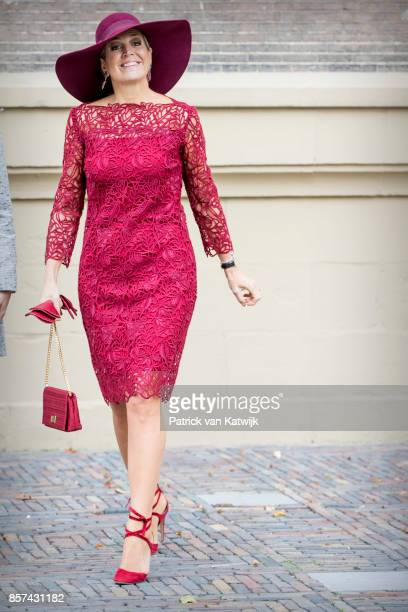 Queen Maxima of The Netherlands opens the traveling exhibition Ten Top Pieces On Tour in the Mauritshuis museum on October 4 2017 in The Hague...