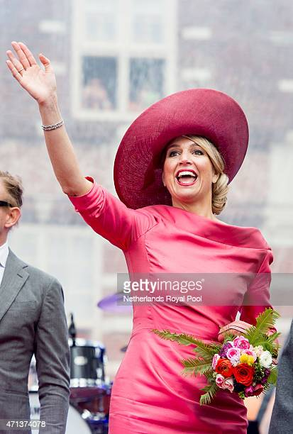 Queen Maxima of The Netherlands participate in King's Day celebrations on April 27 2015 in Dordrecht Netherlands