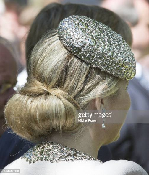 Queen Maxima of The Netherlands participates in activities during a one day visit to Groningen and Drenthe provinces at downtown Dwingelo on May 28...