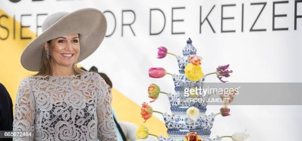 Queen Maxima of the Netherlands poses at the opening of the exhibition Forbidden Porcelain Exclusive to the emperor in Delft on April 7 2017 The...