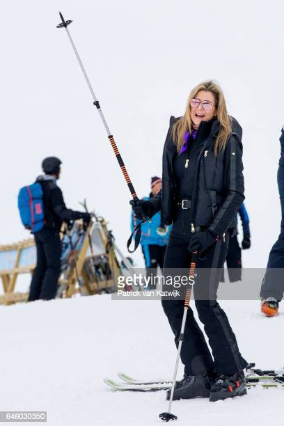 Queen Maxima of The Netherlands poses for the media during their annual wintersport holidays on February 27 2017 in Lech Austria