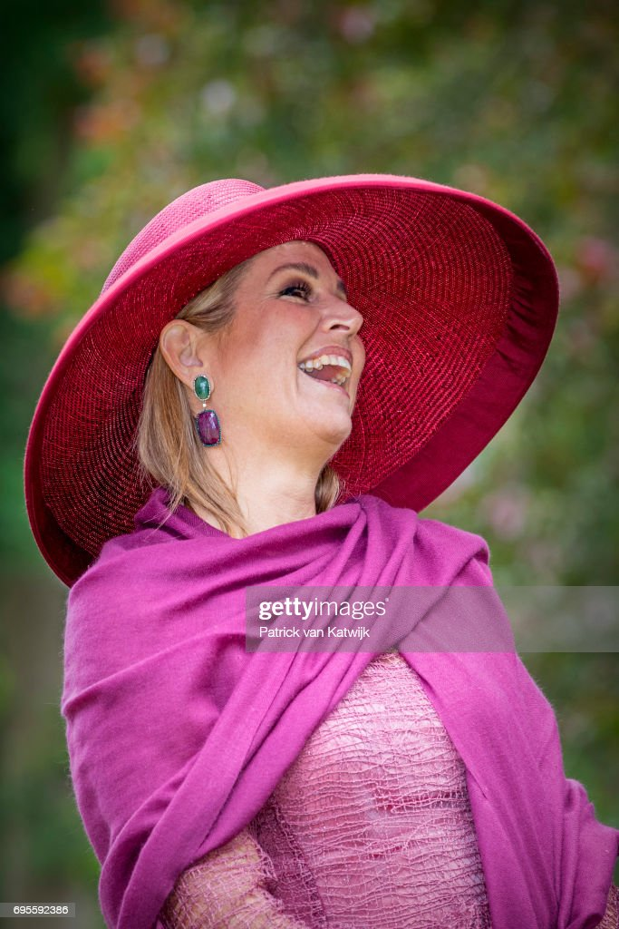 Queen Maxima of The Netherlands presents a new rose during the Dutch Rose Association's National Symposium in the Rosarium on June 13, 2017 in Winschoten, Netherlands.
