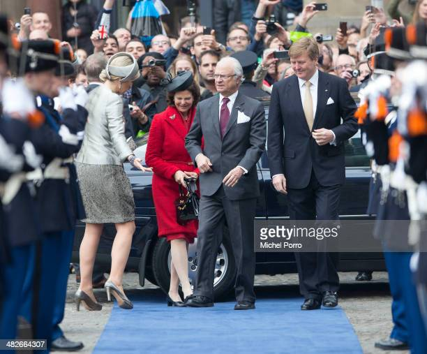 Queen Maxima of The Netherlands Queen Silvia of Sweden King Carl XVI Gustaf Of Sweden and King WillemAlexander of The Netherlands arrive at the Royal...