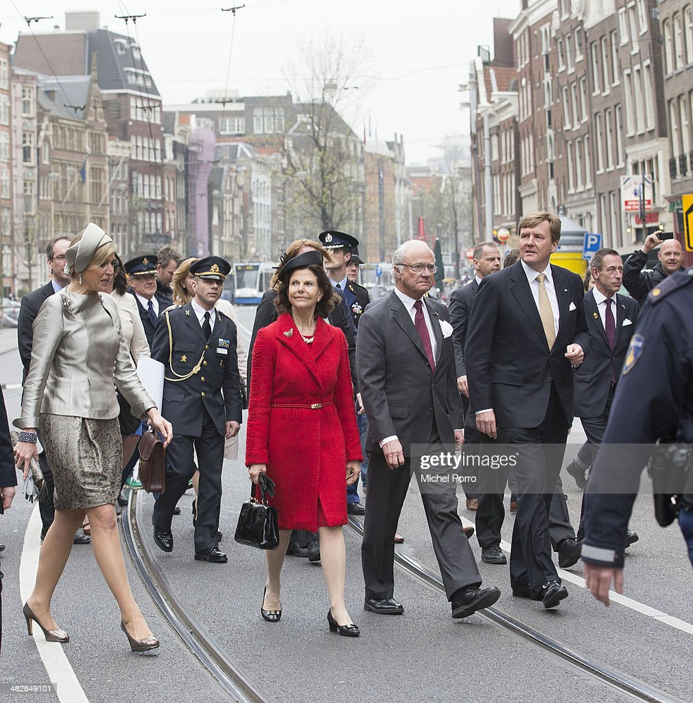 Queen Maxima of The Netherlands, <a gi-track='captionPersonalityLinkClicked' href=/galleries/search?phrase=Queen+Silvia+of+Sweden&family=editorial&specificpeople=160332 ng-click='$event.stopPropagation()'>Queen Silvia of Sweden</a>, King Carl XVI Gustaf Of Sweden, <a gi-track='captionPersonalityLinkClicked' href=/galleries/search?phrase=King+Willem-Alexander&family=editorial&specificpeople=160214 ng-click='$event.stopPropagation()'>King Willem-Alexander</a> of The Netherlands walk at the start of an official two day visit to Holland on April 4, 2014 in Amsterdam, Netherlands.