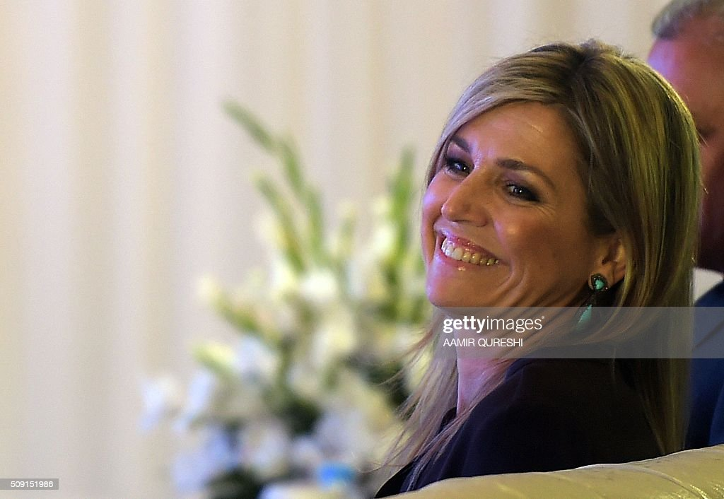 Queen Maxima of the Netherlands smiles during a launching ceremony of Universal Financial Assess Initiative in Islamabad on February 9, 2016. Queen Maxima of the Netherlands, UN Secretary Generals Special Advocate (UNSGSA) for Inclusive Finance for Development arrived in Islamabad on a three day official visit to Pakistan. AFP PHOTO / Aamir QURESHI / AFP / AAMIR QURESHI