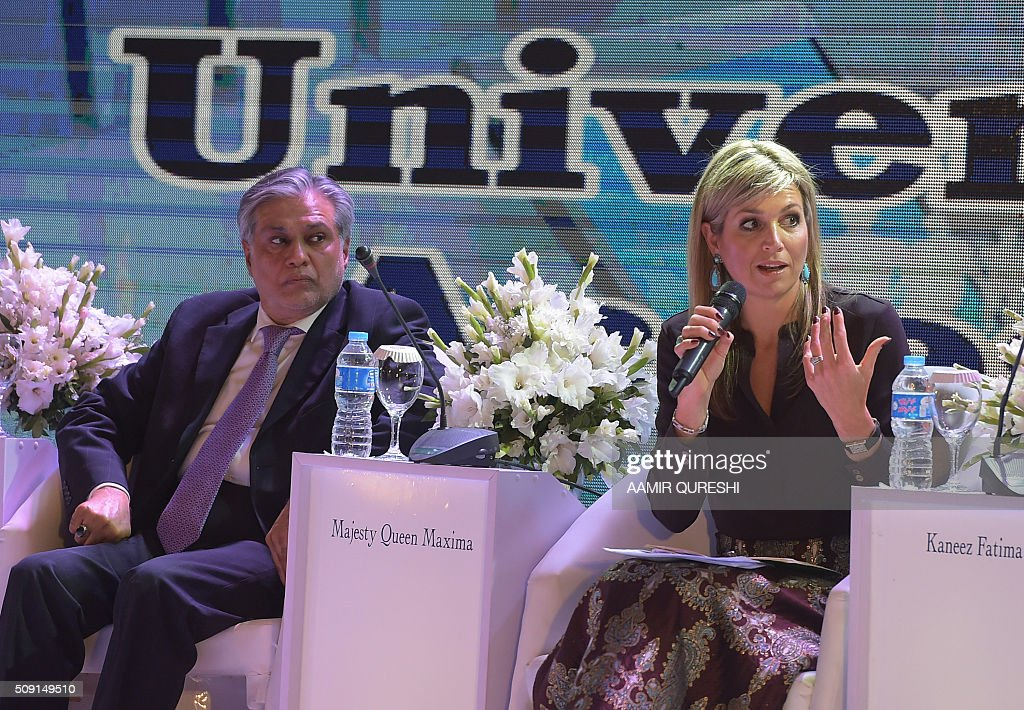 Queen Maxima (R) of the Netherlands speaks as Pakistani Finance Minister Ishaq Dar looks on during a launching ceremony of the Universal Financial Assess Initiative in Islamabad on February 9, 2016. Queen Maxima of the Netherlands, UN Secretary Generals Special Advocate (UNSGSA) for Inclusive Finance for Development arrived in Islamabad on a three day official visit to Pakistan. AFP PHOTO / Aamir QURESHI / AFP / AAMIR QURESHI