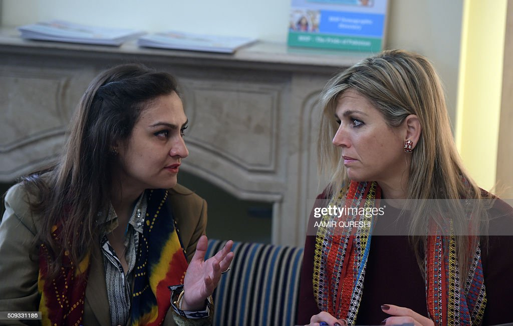 Queen Maxima (R) of the Netherlands speaks Benazir Income Support Programme chairperson Marvi Memon in Rawalpindi on February 10, 2016. Queen Maxima of the Netherlands, UN Secretary Generals Special Advocate (UNSGSA) for Inclusive Finance for Development, is in Pakistan on a three day official visit. AFP PHOTO / Aamir QURESHI / AFP / AAMIR QURESHI