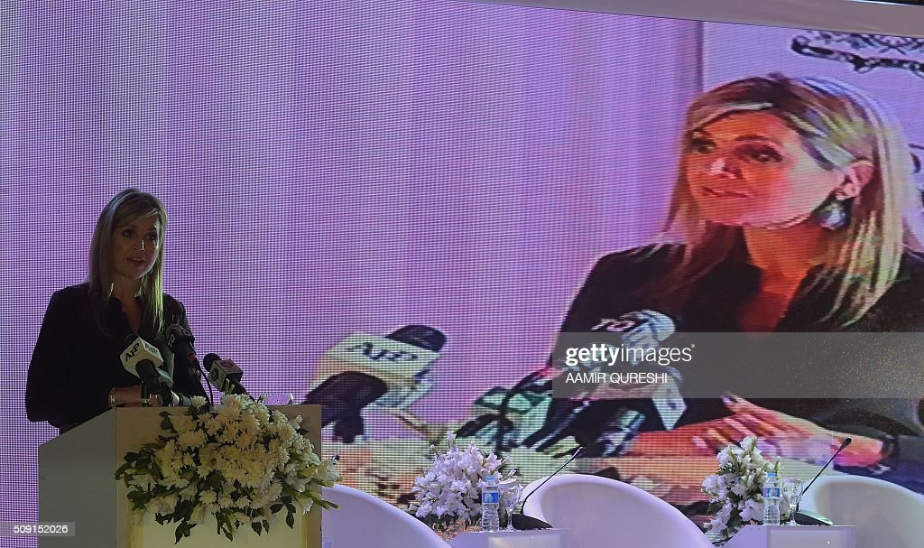 Queen Maxima of the Netherlands speaks during a launching ceremony of the Universal Financial Assess Initiative in Islamabad on February 9, 2016. Queen Maxima of the Netherlands, UN Secretary Generals Special Advocate (UNSGSA) for Inclusive Finance for Development arrived in Islamabad on a three day official visit to Pakistan. AFP PHOTO / Aamir QURESHI / AFP / AAMIR QURESHI
