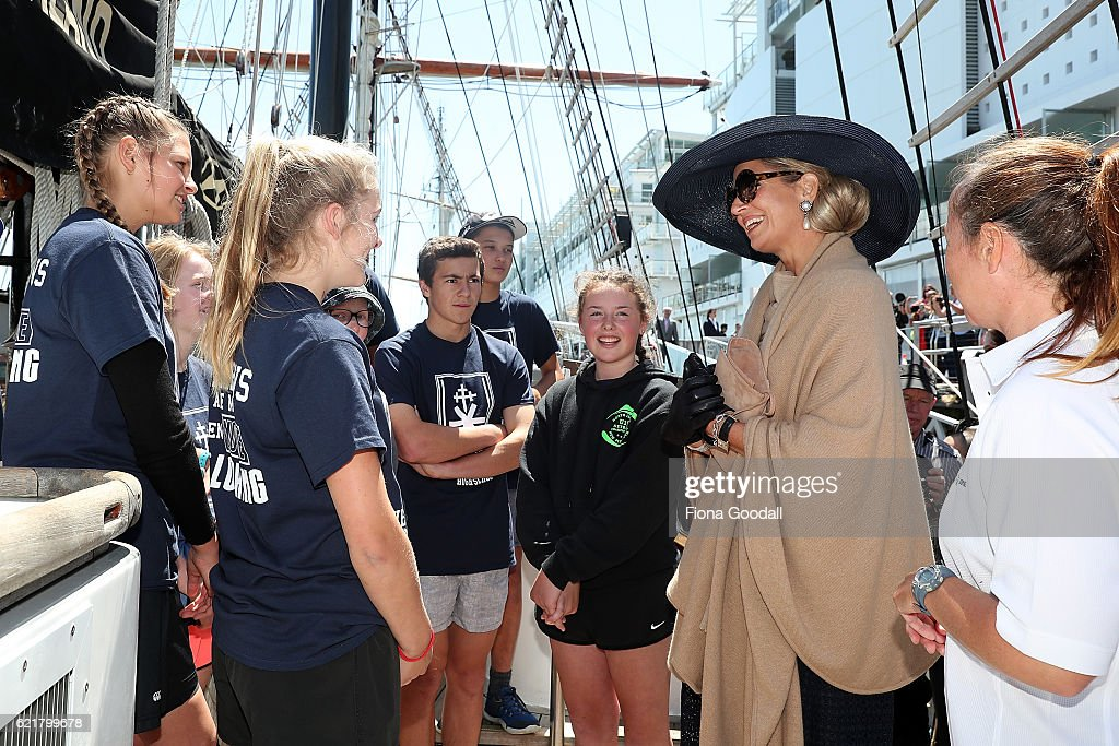 Queen Maxima of The Netherlands (R) speaks to students during her visit to the Spirit of New Zealand Youth Training Vessel at Princes Wharf on November 9, 2016 in Auckland, New Zealand. The Dutch King and Queen are on a three-day tour of New Zealand, visiting Wellington, Christchurch and Auckland.