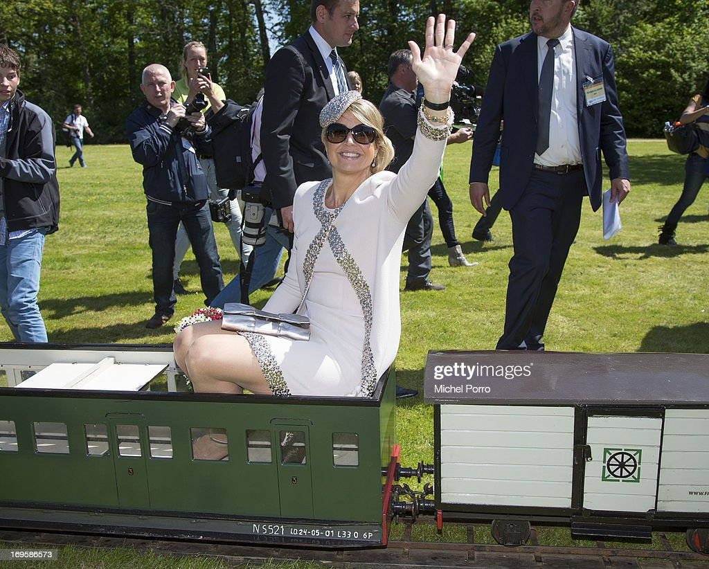 Queen Maxima of The Netherlands takes part in activities while visiting Leek during a one day visit to Groningen and Drenthe provinces on May 28, 2013 in Leek, Netherlands.
