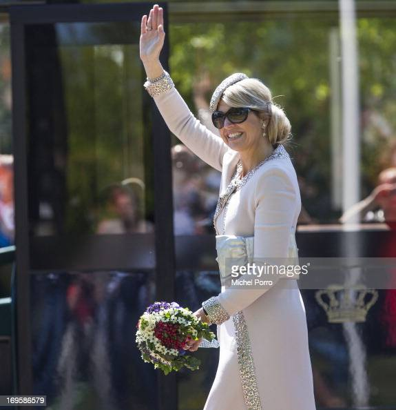 Queen Maxima of The Netherlands takes part in activities while visiting Leek during a one day visit to Groningen and Drenthe provinces on May 28 2013...
