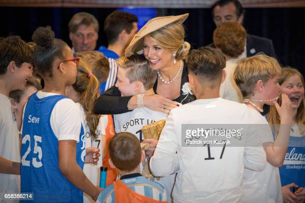 Queen Maxima of The Netherlands visit the Hockey Clinics during the Argentinean state visit in the Beurs van Berlage on March 27 2017 in Amsterdam...