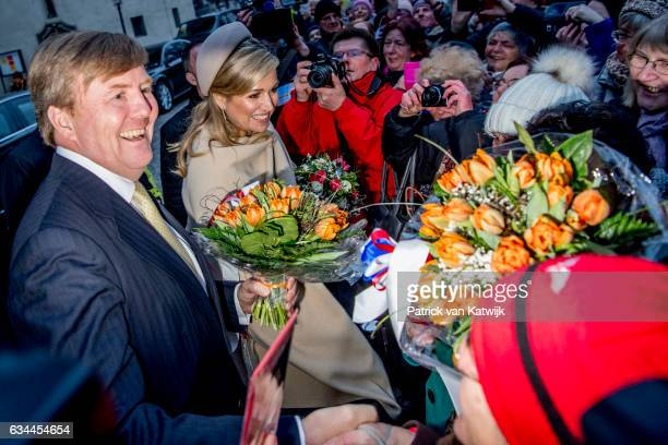 Queen Maxima of The Netherlands visit the slotkirche where Martin Luther is buried during their 4 day visit to Germany on February 09 2017 in...