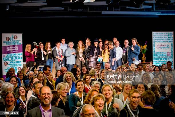 Queen Maxima of The Netherlands visits 5th Teacher's Congress the on October 5 2017 in Amersfoort Netherlands The conference organized by the...
