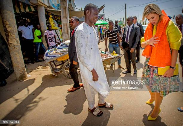 Queen Maxima of The Netherlands visits Diamond Yellow bank agencies of the Diamond Bank of Nigeria on November 1 2017 in Abuja Nigeria