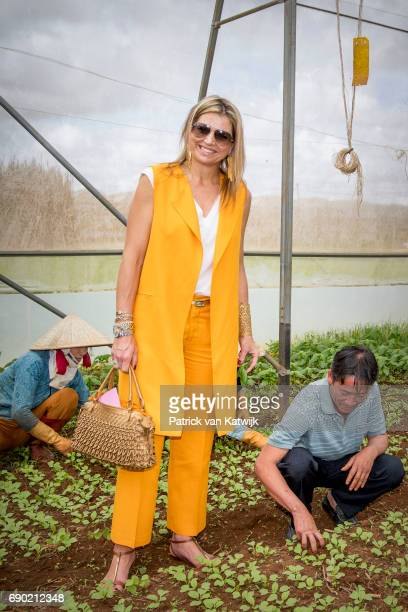 Queen Maxima of the Netherlands visits farm of Xuan Toan on May 30 2017 in D Lat Vietnam The farm is supported by the Horti Dalat program that helps...