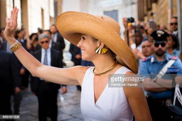 Queen Maxima of The Netherlands visits mayor Leoluca Orlando at Quatto Canti during the second day of a royal state visit to Italy on June 21 2017 in...