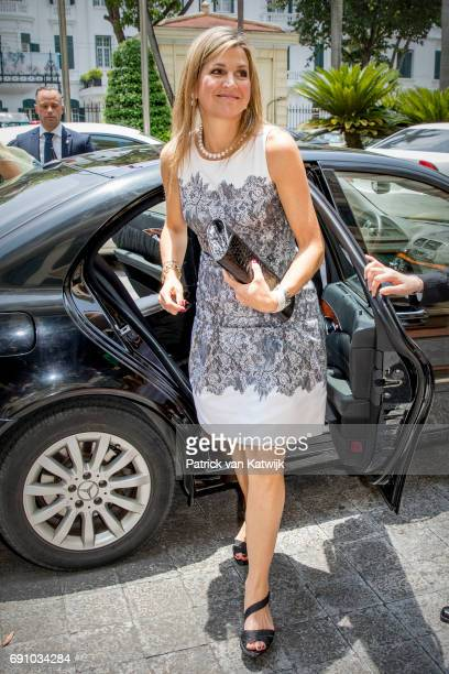 Queen Maxima of The Netherlands visits minister Nguyen Xuan Cuong of Agriculture on June 1 2017 in Hanoi Vietnam