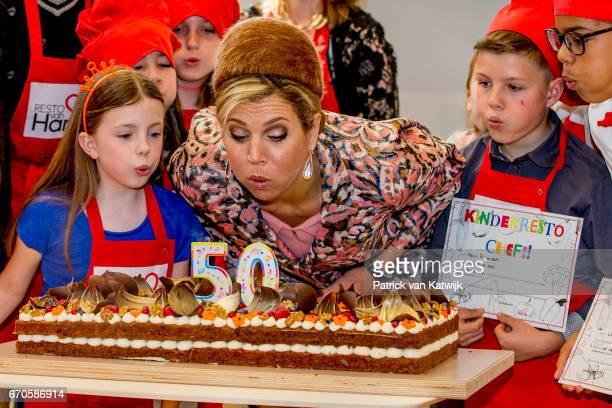 Queen Maxima of The Netherlands visits social restaurant Resto VanHarte on April 20 2017 in Lelystad Netherlands