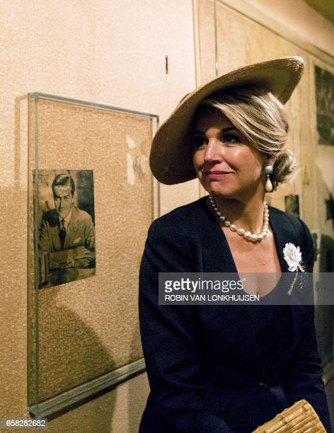 Queen Maxima of the Netherlands visits the Anne Frank House during a twoday state visit by the Argentinian president and first lady in Amsterdam on...