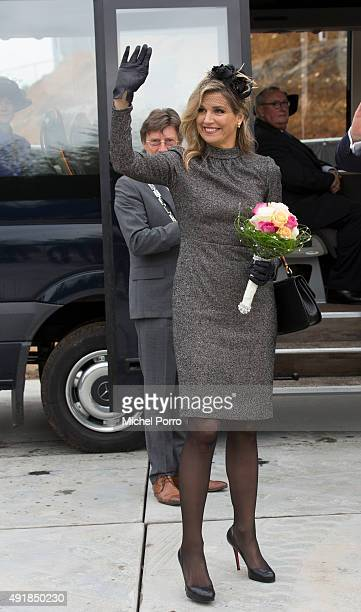Queen Maxima of The Netherlands visits the former mining region on October 8 2015 in Kerkrade Netherlands The region this year celebrates the 'Year...