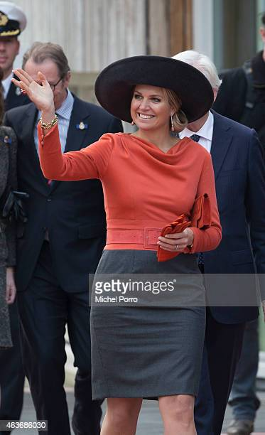Queen Maxima of The Netherlands visits the Stenden College on February 17 2015 in Emmen The Netherlands The royal couple paid a visit to the north...