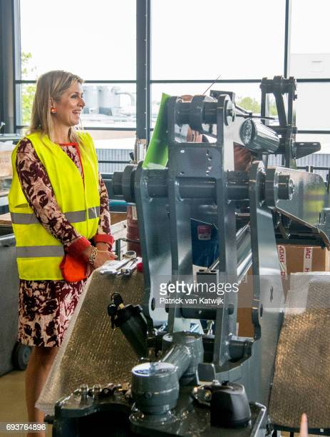 Queen Maxima of The Netherlands visits Tobroco Machines on June 8 2017 in Oisterwijk Netherlands The company is a manufacturer of machines for use in...
