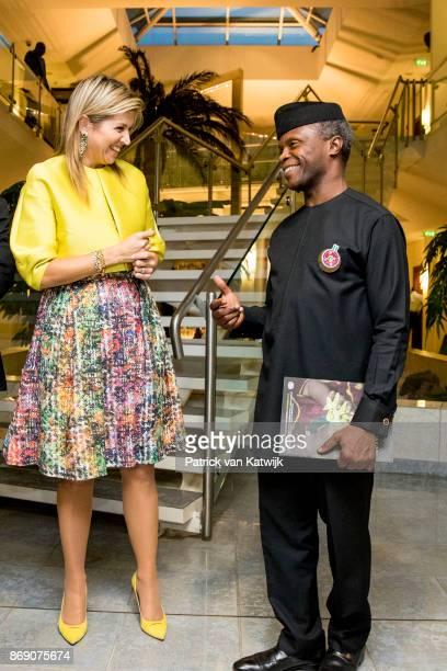 Queen Maxima of The Netherlands visits Vice President Yemi Osinbajoon November 1 2017 in Abuja Nigeria
