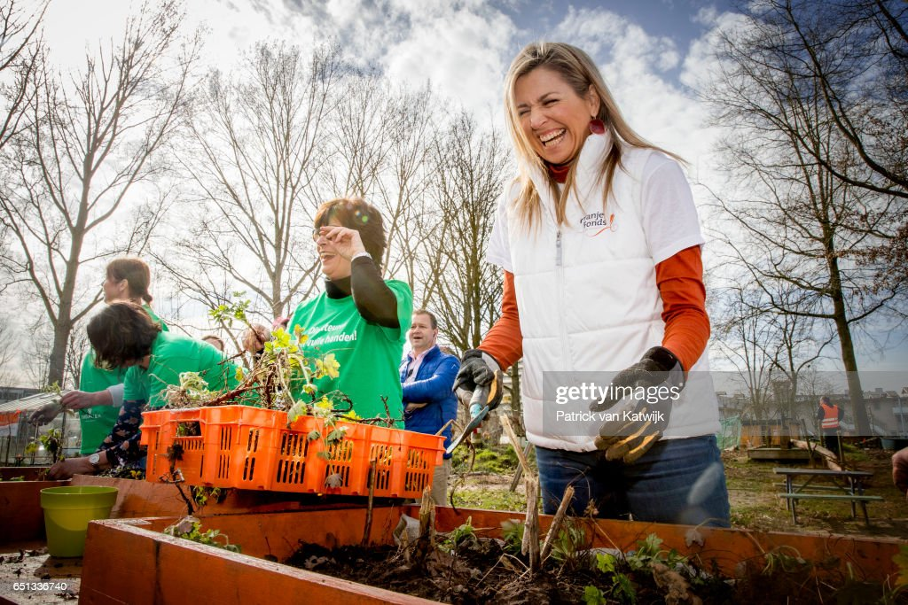 Queen Maxima of the Netherlands volunteering for NL Doet in the neighborhood garden on March 10, 2017 in Breda, Netherlands. NL Doet is a National Volunteer day organized by the Oranje Fonds, the King and the Queen are patron and patroness of the foundation.