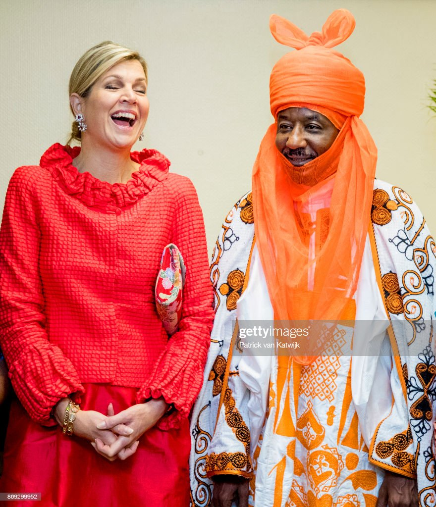 Queen Maxima of The Netherlands with the Emir of Kano Mallam Muhamned Sanusi attend a Enhancing Financial Innovation and Access event 'The Role of the Government' where she gave a speech on November 2, 2017 in Abuja, Niger.