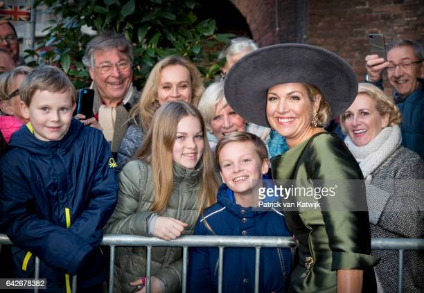 Queen Maxima of The Netherlands with wellwishers opens the exhibition Royal Paradise Aert Schulman and the imagination of nature in the Dordrechts...