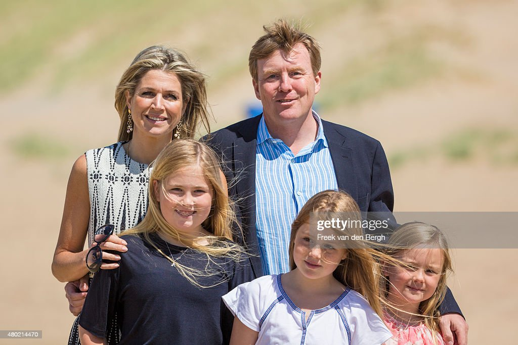 Queen Maxima, Princess Amalia, <a gi-track='captionPersonalityLinkClicked' href=/galleries/search?phrase=King+Willem-Alexander&family=editorial&specificpeople=160214 ng-click='$event.stopPropagation()'>King Willem-Alexander</a>, Princess Alexia, and Princess Ariane of The Netherlands pose for pictures on July 10, 2015 in Wassenaar, Netherlands.