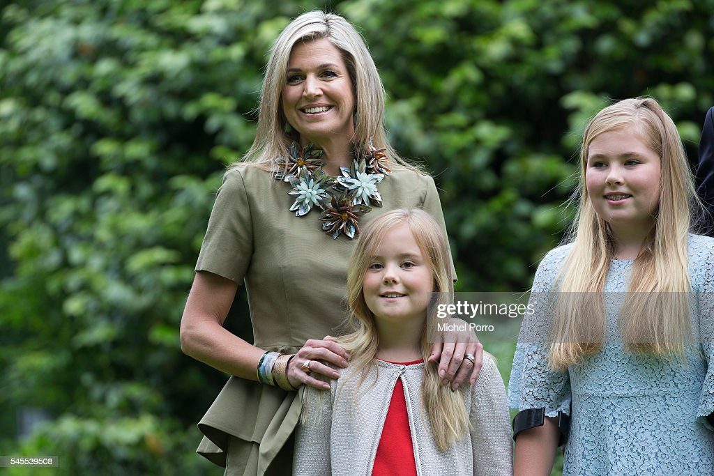 Queen Maxima, Princess Ariane and Crown Princess Catharina-Amalia of The Netherlands pose for pictures during the annual summer photo call at their residence Villa Eikenhorst on July 8, 2016 in Wassenaar, Netherlands.
