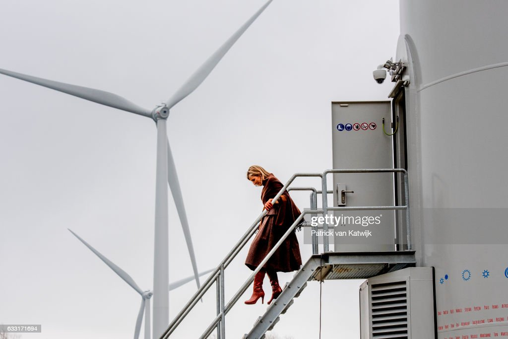 Queen Maxima visits the Windmill park Nijmegen-Betuwe in Nijmegen on January 31, 2017 in Nijmegen, The Netherlands. The park is an initiative owned by private citizens through the local cooperative, Windpower Nijmegen.