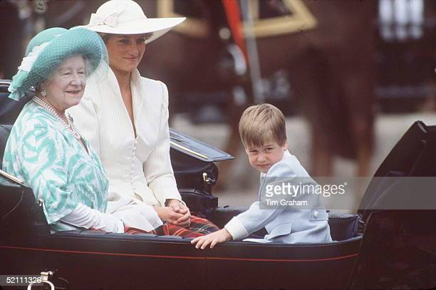Queen Mother With Princess Of Wales And Prince William At Trooping The Colour