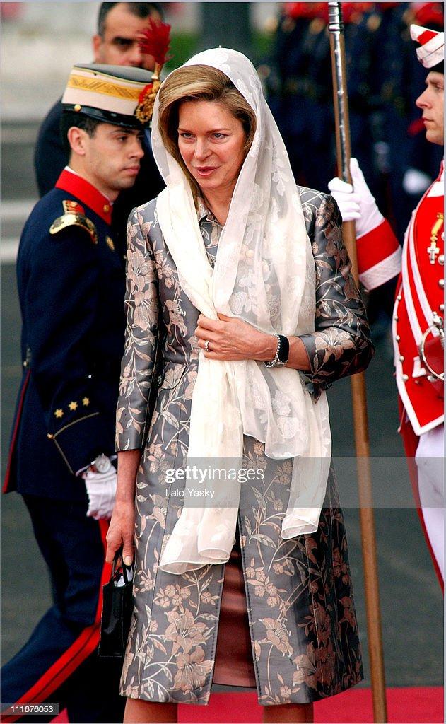 Queen Noor of Jordan during Royal Wedding Between Prince Felipe of Spain and Letiza Ortiz at Alumudena Cathedral in Madrid, Spain.