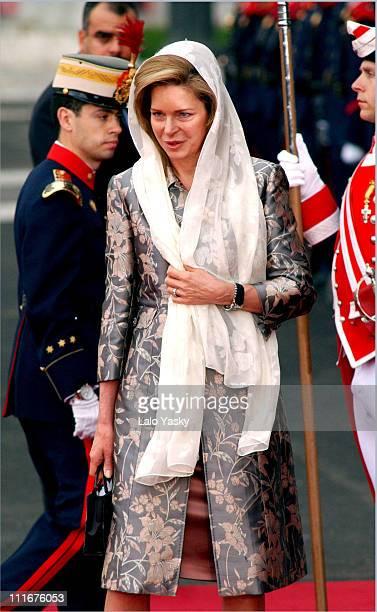 Queen Noor of Jordan during Royal Wedding Between Prince Felipe of Spain and Letiza Ortiz at Alumudena Cathedral in Madrid Spain