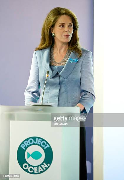 Queen Noor of Jordan speaks during the launch of the 19th World Oceans Day at Selfridges Ultralounge on June 8 2011 in London England World Oceans...