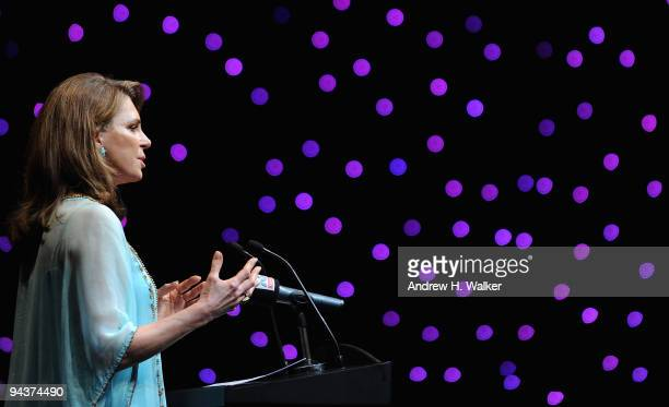 Queen Noor of Jordan speaks prior to the Cultural Bridge Panel discussion during day five of the 6th Annual Dubai International Film Festival held at...