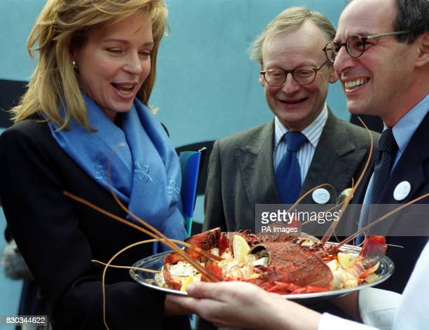 Queen Noor of Jordan with Tory MP John Gummer and television presenter Loyd Grossman at the launch of a new UK campaign 'Fish Forever' at Fish...