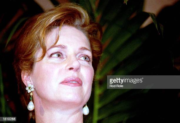 Queen Noor prepares to accept the Nuclear Age Peace Foundation's Distinguished Peace Leadership Award on behalf of her late husband King Hussein in...