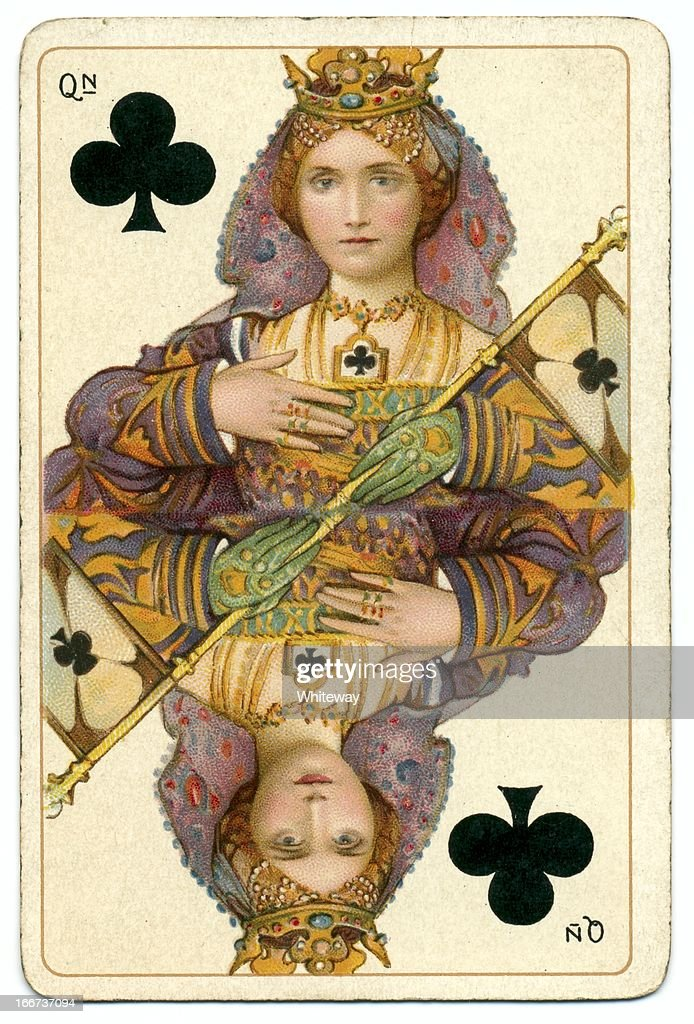 Queen of Clubs original Shakespeare antique playing card