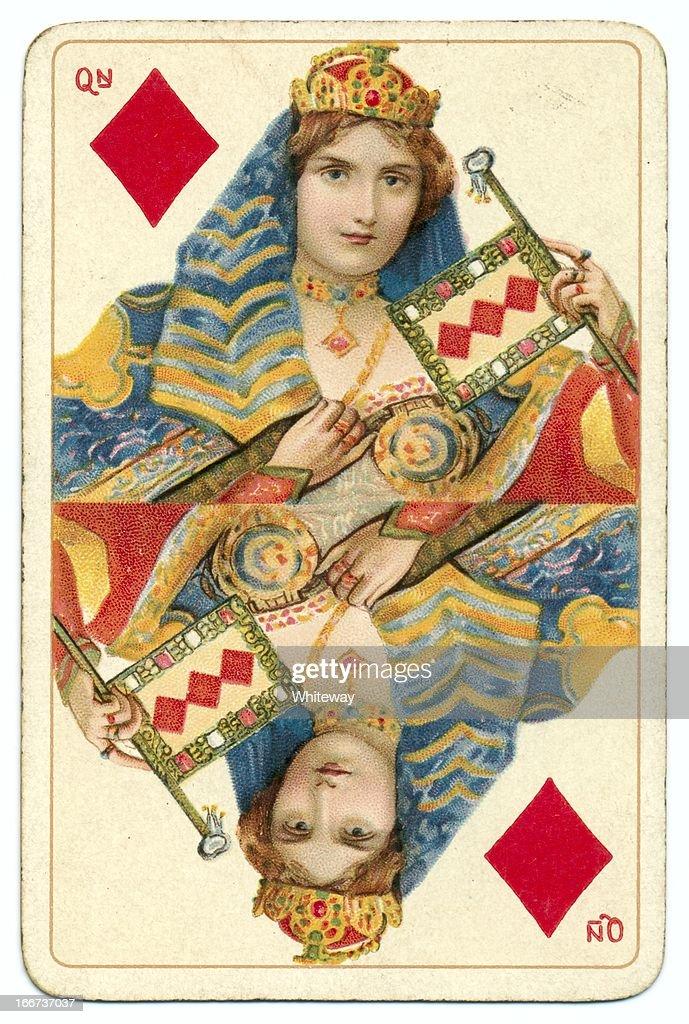 Queen of Diamonds original Shakespeare antique playing card