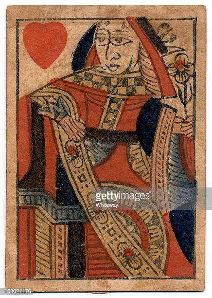 Reine des coeurs carte à jouer anciens du XVIIIe siècle