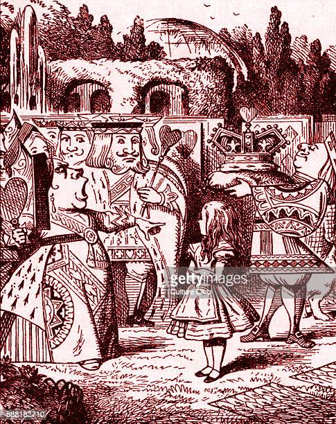 Queen of Hearts demands Knave of Hearts tell her the little girl is from Alice in Wonderland by Lewis Carroll English childrens writer and...