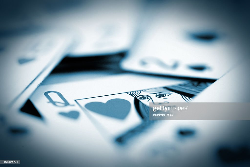 Queen of Hearts in Card Pile, Toned : Stock Photo