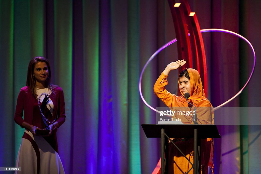 Queen of Jordan, Rania Al Abdullah (L), awards The Leadership in Civil Society to Malala Yousafzai, at the Clinton Global Citizen Award ceremony on September 25, 2013 in New York City. Timed to coincide with the United Nations General Assembly, CGI brings together heads of state, CEOs, philanthropists and others to help find solutions to the world's major problems.
