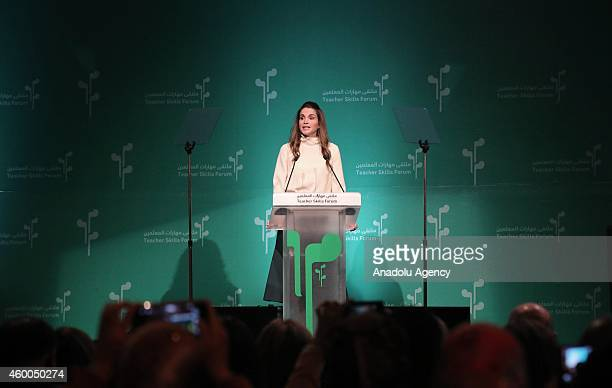 Queen of Jordan Rania al Abdullah gives a speech during the launch of the Teacher Skills Forum at the King Hussein bin Talal Convention Center in the...