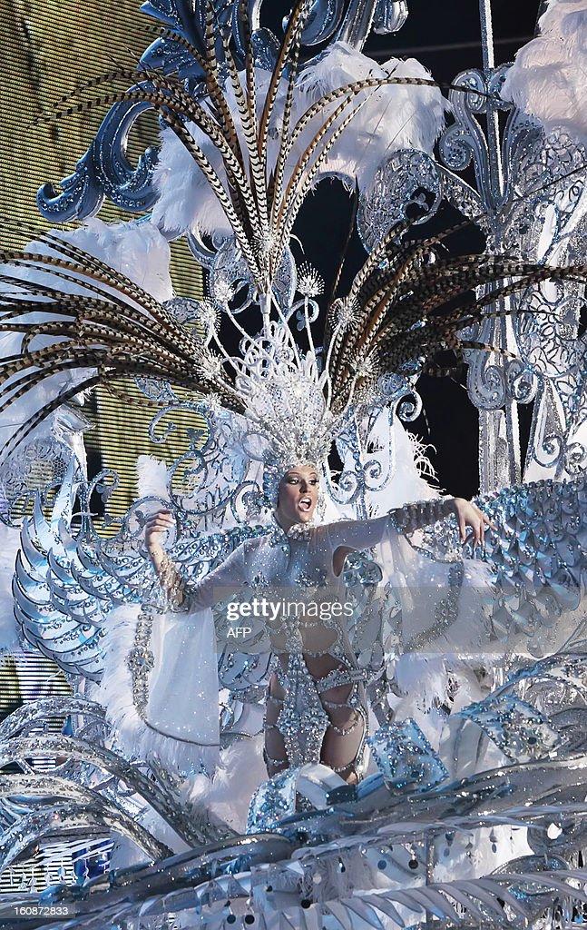 Queen of the 2013 Santa Cruz carnival Soraya Rodriguez performs in Santa Cruz de Tenerife on the Spanish Canary island of Tenerife on February 6, 2013.