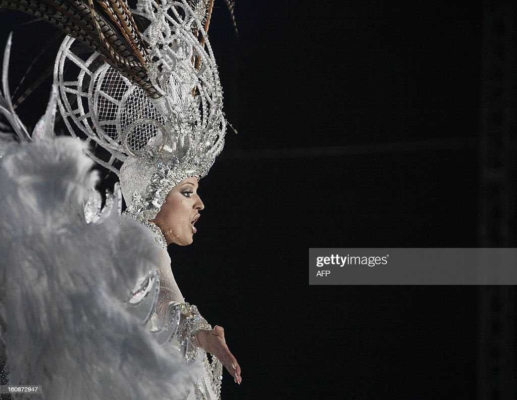 Queen of the 2013 Santa Cruz carnival Soraya Rodriguez performs in Santa Cruz de Tenerife on the Spanish Canary island of Tenerife on February 6, 2013. AFP PHOTO / DESIREE MARTIN